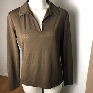 New York & Company Brown Long-sleeved blouse M